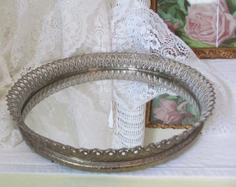 "Vintage Petite 9~1/2"" Round Vanity Mirror Art Deco Brass Filigree Hollywood Regency Boudoir Chic"