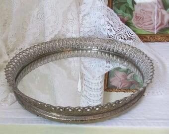 "Vintage Petite 9~1/2"" Round Vanity Mirror Art Deco Brass Filigree Hollywood Regency Boudoir Chic"
