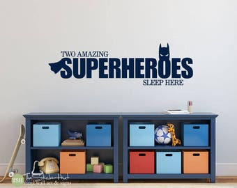 Two Amazing Superheroes Sleep Here Decal - Nursery Bedroom Decor  - Vinyl Lettering - Vinyl Wall Art Decals Graphics Stickers Decals 1988