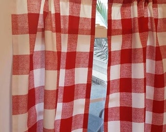 Red Gingham Buffalo Check Kitchen Cafe Curtains - 2 panels/ 1 pair - Custom sizes and matching valance available
