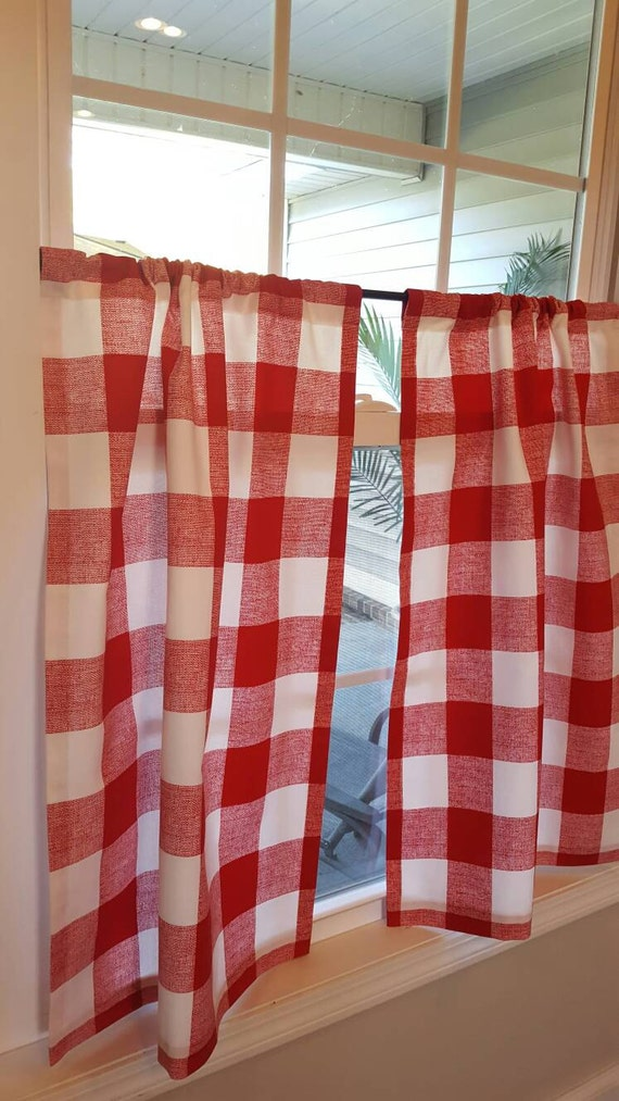 Red Gingham Buffalo Check Kitchen Cafe Curtains 2 Panels 1