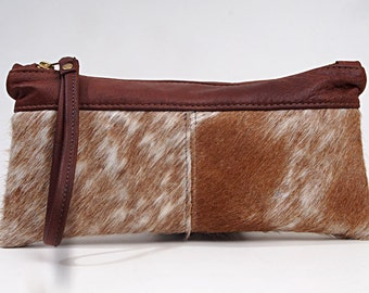 Cowhide Leather Purse Wrist-let Handbag Zip Pouch Hair-On