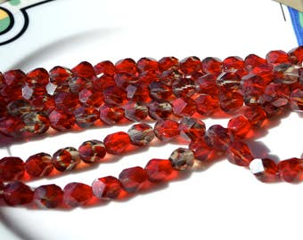 Chunky Red and Black Diamond Faceted Nugget Czech Glass Beads  25