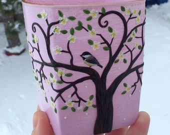 A Wee Chickadee in a White Bossom Tree Sculpted with Polymer Clay onto a Recycled Glass Candle Holder in Blush Pink