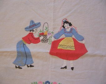 very sweet and charming cotton table cloth