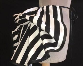 Half Price Sale - Add a Mini Bustle Skirt by LoriAnn - Black and White Stripe Design
