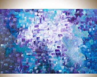 "Abstract painting Blue purple Abstract modern art Original artwork large wall Art canvas art mixed ""Dissolving"" by qiqigallery"