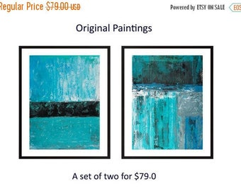 Abstract painting Turquoise blue black modern art Set of 2 painting original landscape painting painting on paper wall art by qiqigallery