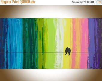 """Colourful art original painting blue green pink purple Birds on a Wire Romantic wedding art love birds art """"Spectrum of Love"""" By qiqigallery"""