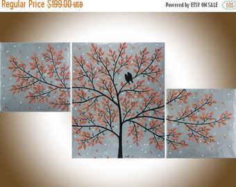 """Art Painting Copper art copper wall art copper home decor Palette Knife Acrylic silver Painting """"Autumn leaves"""" by qiqigallery"""