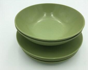 Avocado Green Melmac, Melmac Saucers, Melmac Bowls, Melmac Appetizer Plates and Bowls