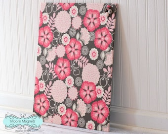 Fabric covered magnetic bulletin board 16 inch x 20 inch covered in pink and gray floral fabric - note board command center message board