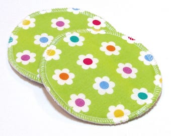 """4.5"""" Reusable Cloth Nursing Pad Set in Bamboo/Organic Cotton with heavy fleece in Quilter's Cotton - Green Floral"""