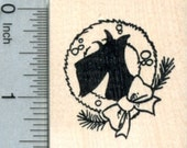 Christmas Scottie Rubber Stamp, Scottish Terrier Dog in Wreath E31108 Wood Mounted