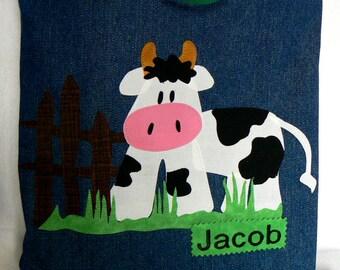 Cow Farm Animal Kid Tote Bag|Personalized Tote Bag|Preschool Bag|Toddler Bag|Children Book Bag|Easter Gift Bag|Kids Gift Bag|Denim Tote Bag