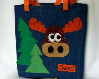 Forest Animals Kids Tote Bag|Easter Gift|Personalized Book Bag|Library Book Bag|Moose Tote Bag|Toddler School Bag|Preschool Bag|Kindergarten