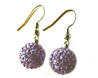Clearance Sale Lilac purple crystal ball dangle silver earrings CLEARANCE