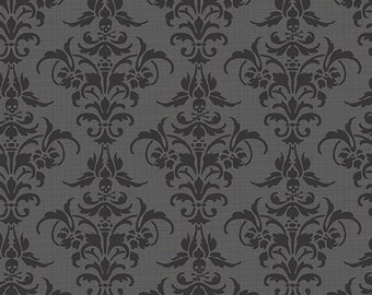 CHILLINGSWORTH DAMASK Black Grey Quilt Fabric - by the Yard, Half Yard, or Fat Quarter Fq by Echo Park