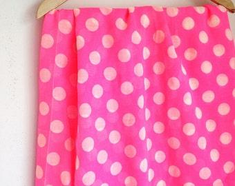 Vintage pink and white polka dot fabric gauze like polyester