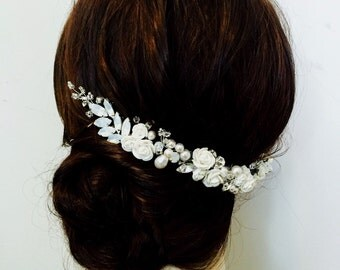 White Opal Hair Accessory for Bride, rhinestone bridal hairpiece, white flower hairvine, wedding hair vine , opal bridal hair vine GEMMA