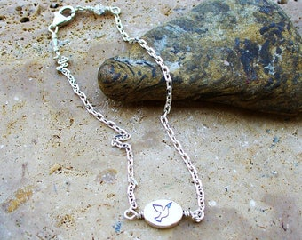 Peace Dove Double Sided Charm Hand-Wired Sterling Silver Anklet - Love It - Beautiful