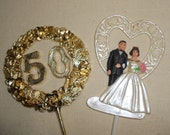 Vintage 50th Anniversary Cake Picks, 50th Anniversary Floral Pick, Party Supplies