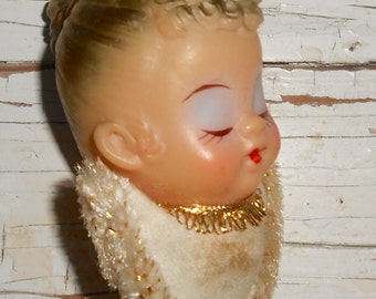 Vintage Angel Head Pick, Vintage Christmas Angel