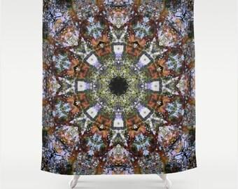 Intricate Boho Kaleidoscope Mandala Drapey Fabric Shower Curtain