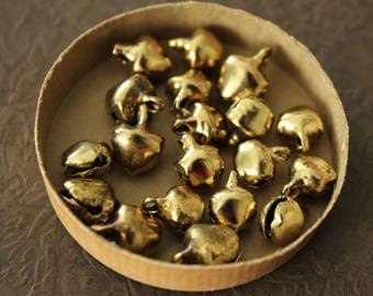 Old Gold Jingle Bells - Set of 20 Extra Tiny Primitive Christmas Jingle Bells - Holiday Trims 5/16 Inch Bell Trim for Decorating