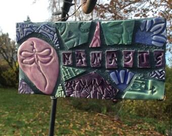 Namaste Dancing Dragonfly Mosaic Sign