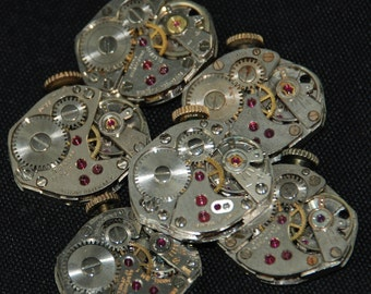 Vintage Watch Movements Parts Steampunk Altered Art Assemblage R 5