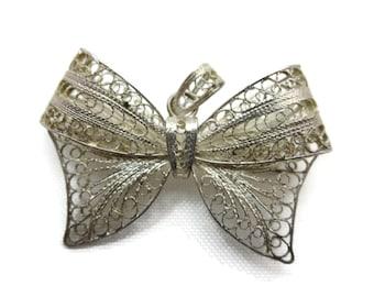 Sterling Silver Filigree Bow Brooch Pendant