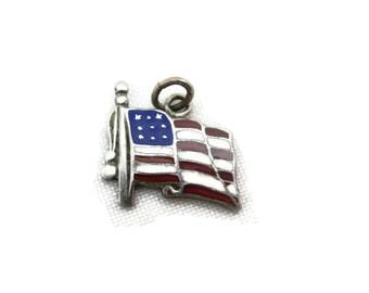 Sterling Enamel Bracelet Charm - Silver American Flag Necklace Pendant, Travel Souvenir, Red White Blue, July 4th Memorial Day