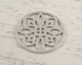 Sterling Silver Round Flower Connector 15mm (CG9014)