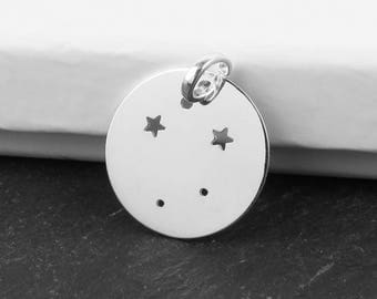 Sterling Silver Libra Constellation Pendant 18mm (CG9617)