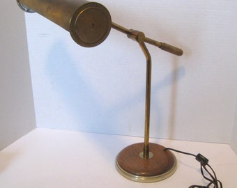 Mid Century Brass Adjustible Arm Desk Table Lamp