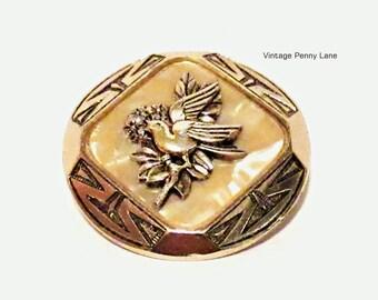 Vintage Scarf Clip, Celluloid, Gold Bird / Dove