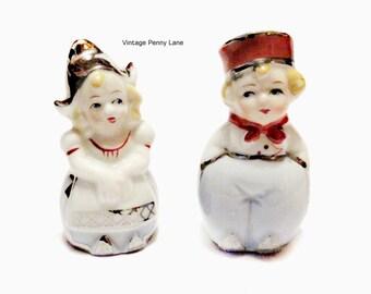 Vintage Salt and Pepper Shakers, Ceramic Porcelain, Dutch Children