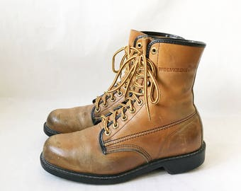 Vintage WOLVERINE Brown Leather Work Boots. Size 8 1/2 Men's// 11 Women's