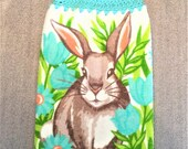 BUNNY In The FLOWER GARDEN Extra Plush Double Layer Hanging Crochet Towel for kitchen or bathroom, housewarming, birthday, gifts, holiday