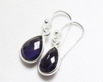Amethyst Earrings Genuine Amethyst Small Dangle Earrings Amethyst Teardrop Earring February Birthstone Sterling Silver BZ-E-102-Amethyst/s