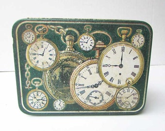 Vintage Tin Box w Pocket Watch Images, Watch Box, Supplies Box, Box for Small Items, Desk Box, Green and White, Vintage Tin Box