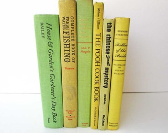 Vintage Book  Set in Lemon and Lime, Vintage Books, Book Stack, Yellow & Lime Green Books, Library Accent, Decor Book Set, Table Centerpiece