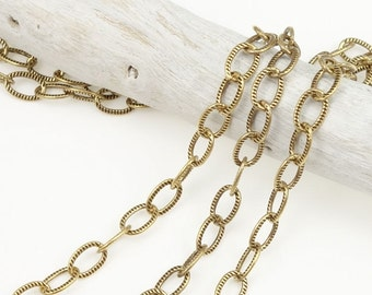 Antique Gold Chain Gold Plated TierraCast Chain Delicate Embossed Cable Chain with 2.5mm Soldered Links Loose Unfinished Chain 20-1525-26