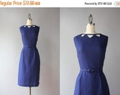 STOREWIDE SALE RESERVED . . .Vintage 1950s Dress / 50s 60s Cutout Cotton Wiggle Dress / 1960s Navy Blue Sleeveless Fitted Dress