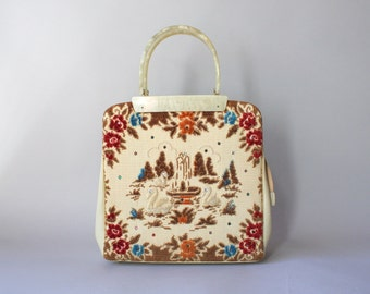 1950s Bag / Vintage 50s Swimming Swans Purse / Lucite Handle Chenille Handbag