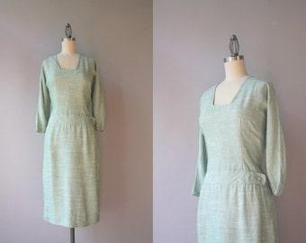 1950s Dress / 50s Pale Green Fitted Dress / Vintage Fifties Tailored Dropwaist Dress