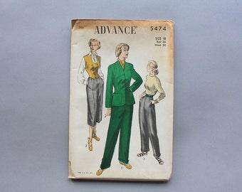 1950s Sewing Pattern / 40s 50s Slacks Capris and Jacket Pattern / Uncut Factory Fold Advance Pattern size 18 30 inch waist