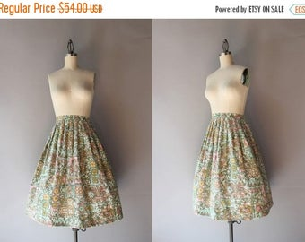 STOREWIDE SALE 1950s Cotton Skirt / Vintage 50s Pleated Batik Skirt / Fifties Full Skirt