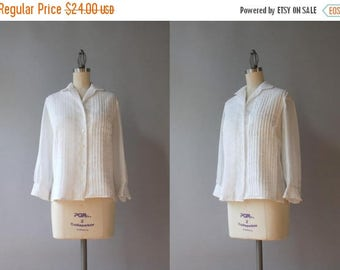 STOREWIDE SALE 1950s Blouse / Vintage 50s Sheer White Cotton Batiste Blouse / 50s White Button Down Blouse medium M small S